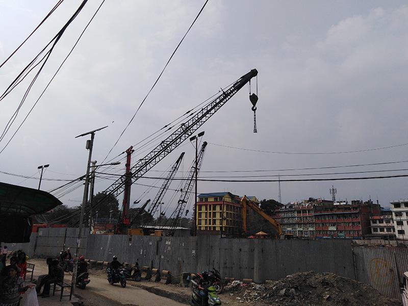 The construction site of Kathmandu View Tower at Old Bus Park, in Kathmandu, on Wednesday, April 24, 2019. Photo: Sandeep Sen/ THT Online