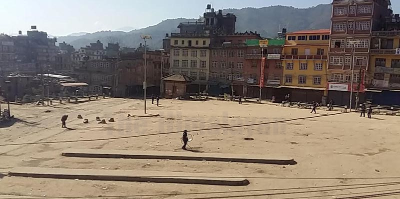 Panauti Buspark area wearing a deserted look after District Administration Office, Kavre, imposed a curfew to take the situation under control after a tipper hit and killed a woman and her daughter, on Tuesday. Photo: THT