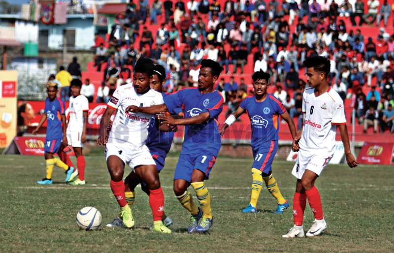 Action in the match between Sudurpashchim (centre) and APF during the Nepal Ice Sudurpashchim Khaptad Gold Cup at the Dhangadhi Stadium on Saturday. Photos: THT