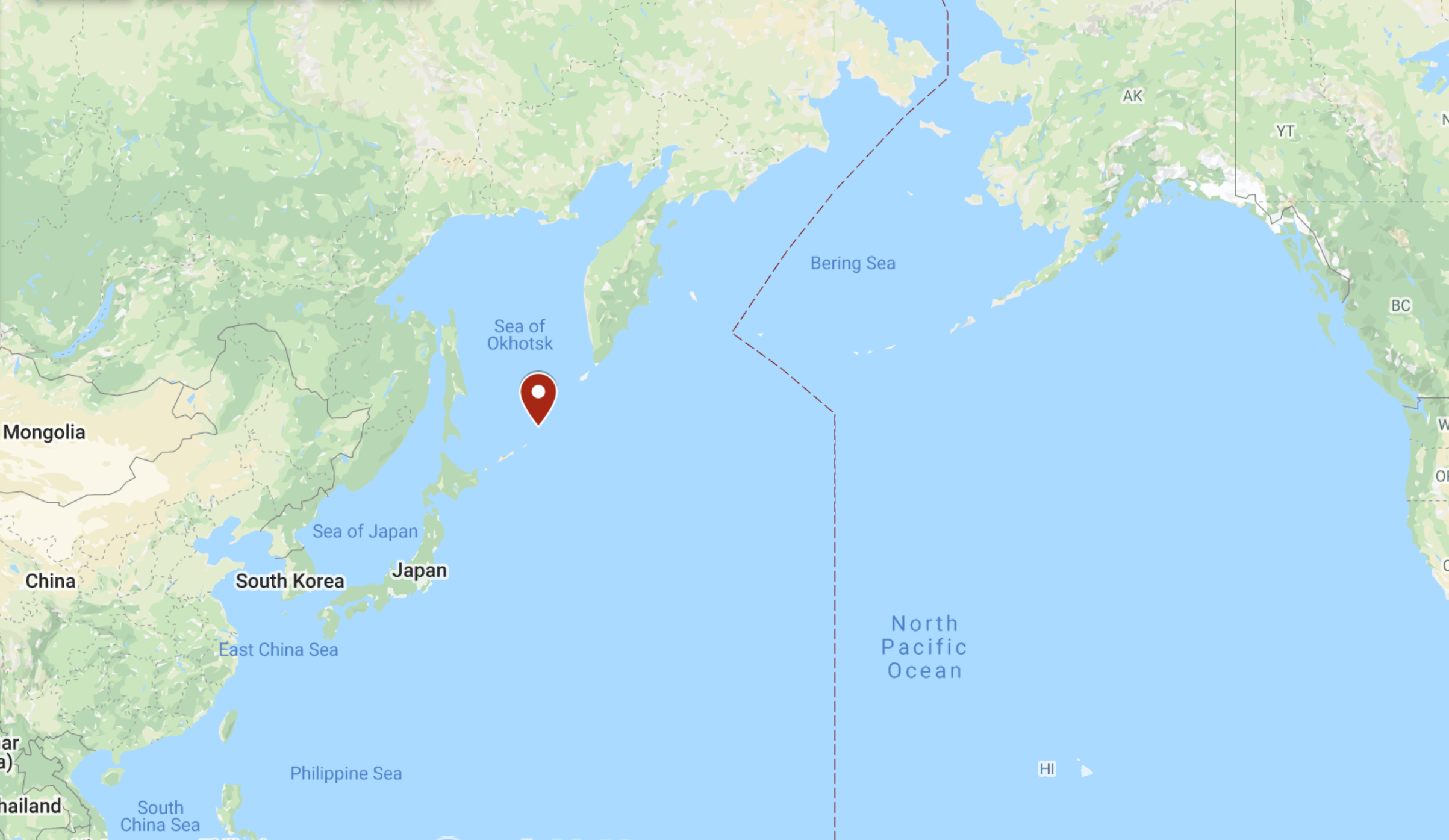 Kuril Islands, Russia. Image: Google Maps