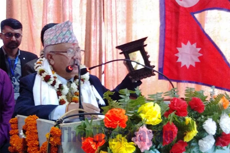 Senior leader of Nepal Communist Party (NCP) Madhav Kumar Nepal speaking after laying the foundation stone of a building belonging to Kalakunja Library at Gaur, Rautahat, on Tuesday, March 3, 2020. Photo: THT