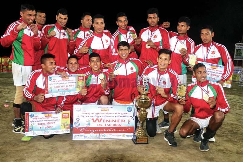 Tribhuvan Army Club team members celebrate after winning the third Mayor Cup National Volleyball Tournament in Inaruwa on Thursday. Photo: THT