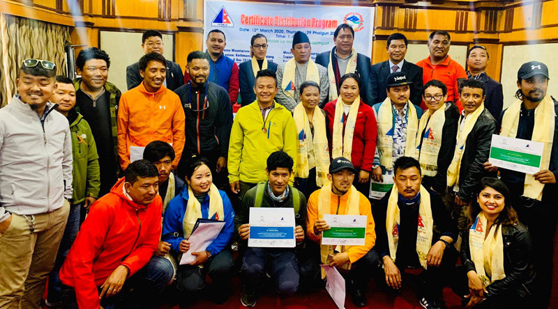 The Nepal Mountaineering Association (NMA) distributes training certificates to mountain workers. Photo Courtesy: NMA