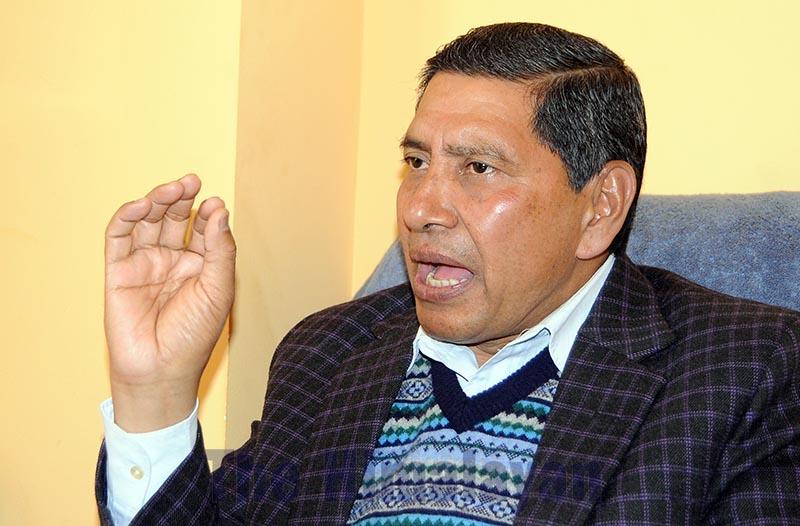Interview with Spokesperson and Secretariat Member Narayan Kaji Shrestha, in Kathmandu, on Sunday, March 8, 2020. Photo: Balkrishna Thapa Chhetri/THT