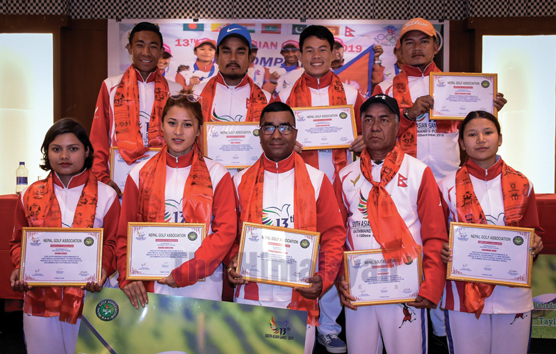 The 13th South Asian Games medal winning golfers, coaches and managers pose for a group photo after a felicitation programme organised by Nepal Golf Association in Kathmandu on Friday. Photo: Naresh Shrestha/THT