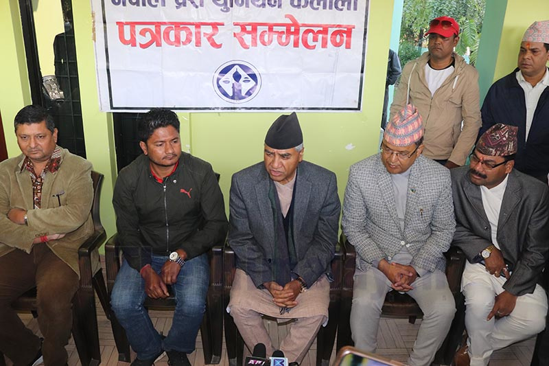Nepali Congress President Sher Bahadur Deuba speaking during a press conference organised at Dhangadhi, Kailali, on Wednesday, March 4, 2020. Photo: Tekendra Deuba/ THT