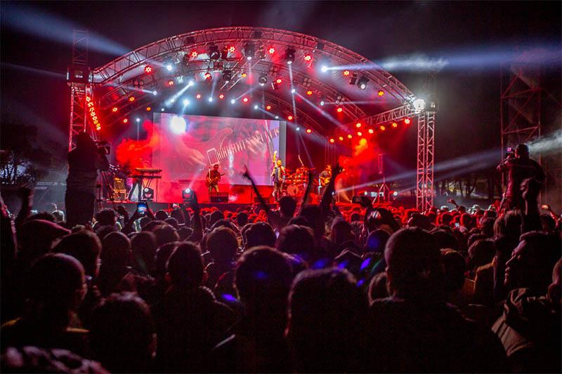 Nepathya performs during a live concert at Bhrikuti Mandap in Kathmandu, on Saturday, February 29, 2020. Photo: Prabish Newa/Nepalaya