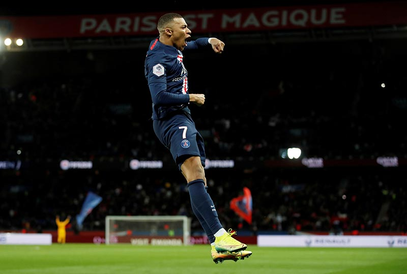 Paris St Germain's Kylian Mbappe celebrates scoring their fourth goal during the Ligue 1 match between Paris St Germain and Dijon, on Parc des Princes, in Paris, France, on February 29, 2020. Photo: Reuters