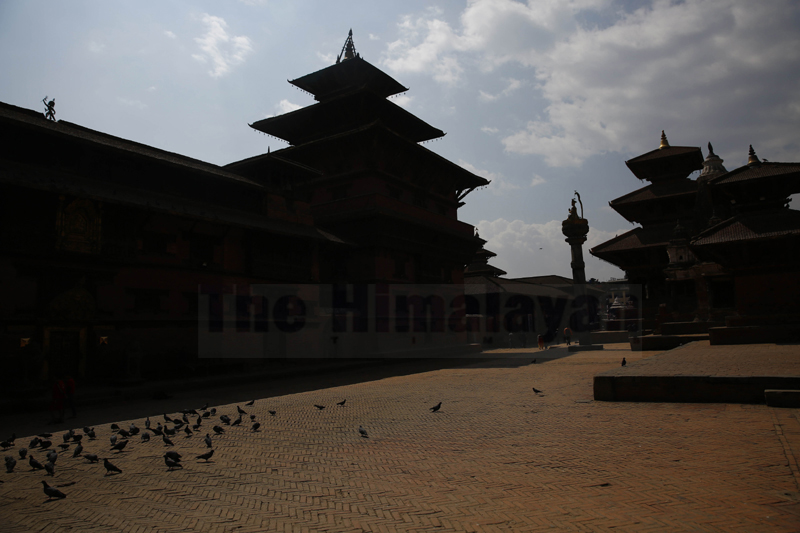 A deserted view at Patan Durbar Square on the second day of the week long nationwide lockdown in an effort to control the spread of COVID-19 in Lalitpur, on Wednesday, March 25, 2020. Photo: Skanda Gautam/THT