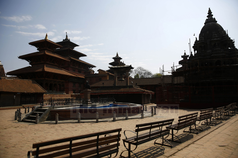 A deserted view of the Patan Durbar Square on the second day of the week-long nationwide lockdown, in Lalitpur, on Wednesday, March 25, 2020. Photo: Skanda Gautam/THT