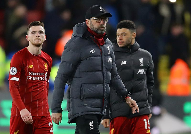 Liverpool manager Juergen Klopp looks dejected at the end of the Premier League match between Watford and Liverpool, at Vicarage Road, in Watford, Britain, on February 29, 2020. Photo: Reuters