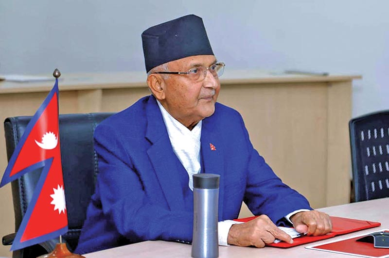 FILE - Prime Minister KP Sharma Oli taking part in a video conference of SAARC leaders to contain the spread of coronavirus, in Kathmandu, on Sunday. The conference was conducted at the initiative of the Indian Prime Minister. Photo: RSS