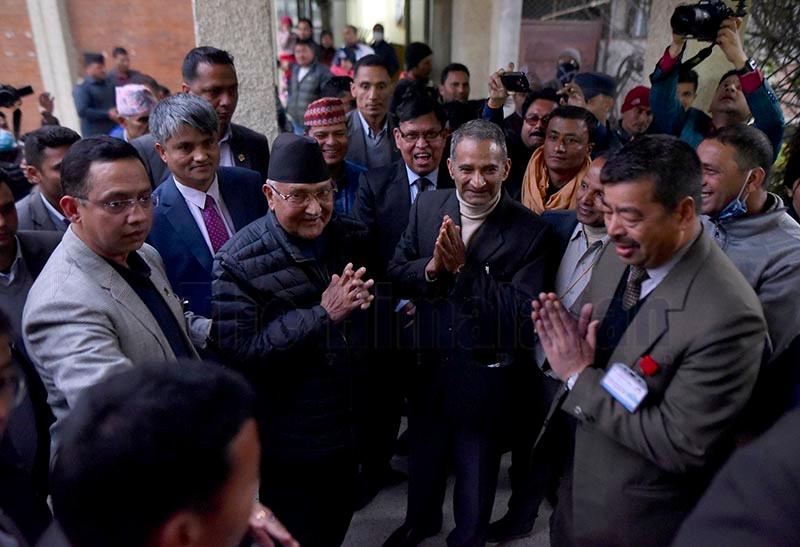 Prime Minister KP Sharma Oli arriving at Tribhuvan University Teaching Hospital for kidney transplant, on Monday. Photo: THT