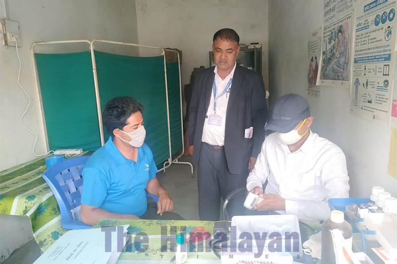 FILE - A health desk set up to check the spread of coronavirus outbreak at Jamunaha border point, Rupaidiha, Nepalgunj, on Wednesday, March 4, 2020. Photo: THT