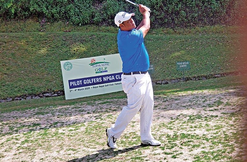 Shivaram Shrestha play shots during the first round of the Pilot Golfers NPGA Classic at the Gokarna Golf Club in Kathmandu on Monday. Photo courtesy: NPGA