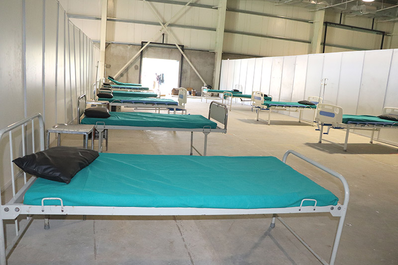 Hospital beds being set up at the special (temporary) hospital designated for the treatment of COVID-19, in Bharatpur Metropolitan City-10, Chitwan, as on Thursday, March 19, 2020. Photo: Tilak Ram Rimal/THT