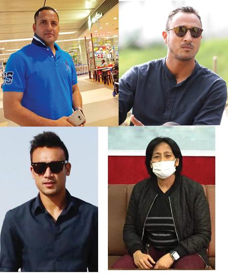 A combination photo of sports figures including Deepak Bista, Paras Khadka, Sujal Shrestha and Sangina Baidya.