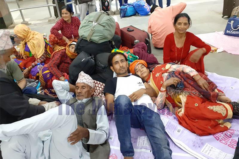 Nepali pilgrims stranded in Andhra Pradesh amid virus lockdown in India, on Thursday, March 26, 2020. Photo provided by stranded pilgrims in India.