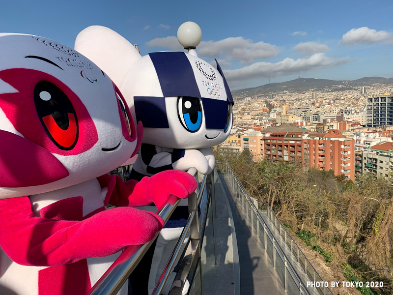 Tokyo 2020 Olympic Games mascot Miraitowa and Paralympic mascot Someity are pictured during their 'Make the Beat' tour in Barcelona, Spain, in this picture obtained March 13, 2020 from social media. Photo: Tokyo 2020/via Reuters