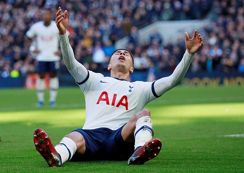 Tottenham Hotspur's Dele Alli reacts during the Premier League match between Tottenham Hotspur and Wolverhampton Wanderers, at Tottenham Hotspur Stadium, in London, Britain, on March 1, 2020. Photo:  Action Images via Reuters