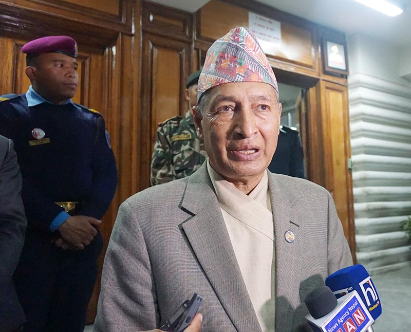 Minister Yubaraj Khatiwada apprising mediapersons of the decisions taken by the high level coordination committee meeting on prevention of COVID-19 held at the Office of the Prime Minister and Council of Ministers, Singha Durbar, Kathmandu, on Thursday, March 12, 2020. Photo: RSS