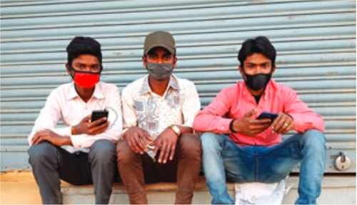 (From left) Dipak, Mohan and Santosh fear they may be evicted from their room any day. Photo: THT