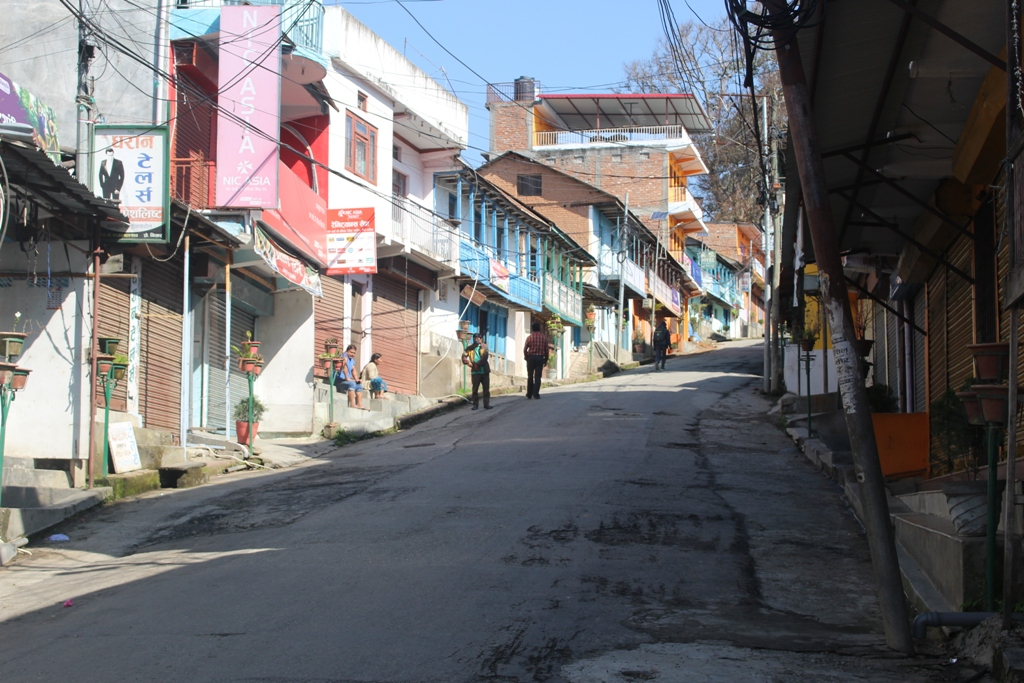 View of a deserted road after the Government of Nepal reinforced lockdown measures to combat the coronavirus infection (COVID-19), in Dhankuta, on Tuesday, March 24, 2020. Photo: Khagendra Prasad Ghimire/ THT