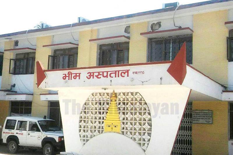 An ambulance is seen on the premises of Bhim Hospital in Bhairahawa, on Friday, April 03, 2020. Photo: Krishna Prasad Dhakal/THT