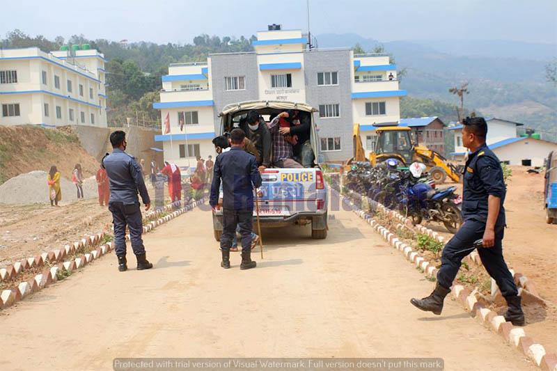 Police arrest lockdown violators in Bhojpur, on Sunday, April 12, 2020. Photo: Niroj Koirala/THT