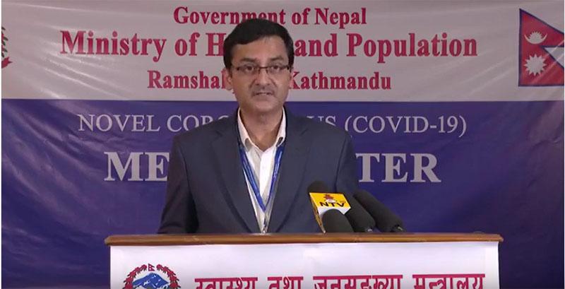Dr Bikas Devkota providing latest updates on COVID-19 situation in Nepal on Wednesday, April 8, 2020.
