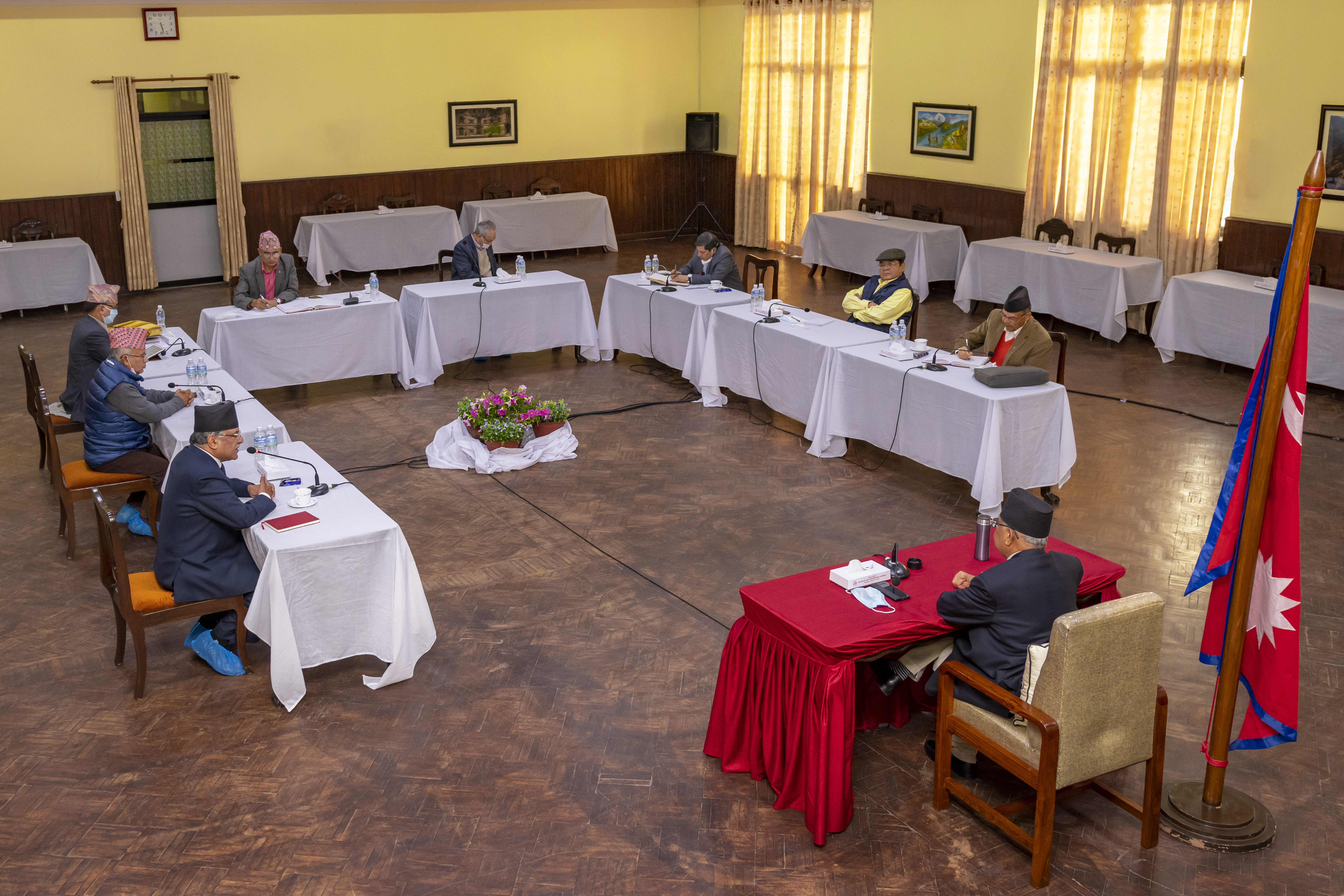 Nepal Communist Party (NCP) Central Secretariat Meeting, being held on Wednesday, April 29, 2020. Photo Courtesy: Rajan Kafle/Prime Minister's Secretariat