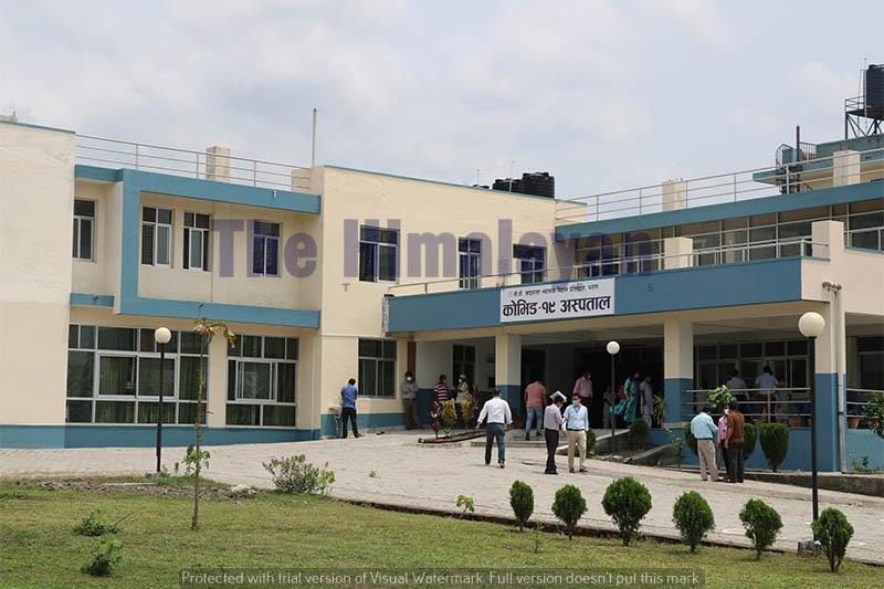 Newly built hospital to treat coronavirus in Dharan, on Sunday, April 26, 2020. Photo: Santosh Kafle/THT