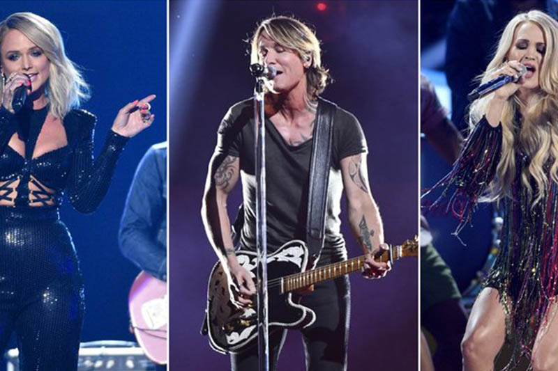 This combination photo shows country music stars, from left, Miranda Lambert, Keith Urban and Carrie Underwood, who are among 23 performers that will be featured in u201cACM Presents: Our Country,u201d an at-home country music special that is airing on CBS on April 5, in lieu of their delayed Academy of Country Music awards show. Photo: AP