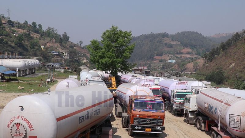 Bullet tankers, carrying LPG from India, are seen parked in Dhading. Photo: Keshav Adhikari/THT