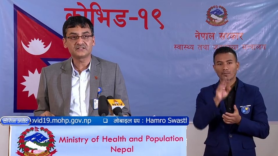 A screenshot from Friday's media briefing on COVID-19 addressed by spokesperson for the Minstry of Health and Population (MoHP).