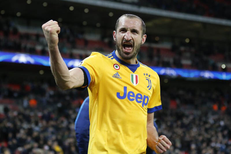 FILE - In this Wednesday, March 7, 2018 filer, Juventus' Giorgio Chiellini celebrates at the end of a the Champions League, round of 16, second-leg soccer match between Juventus and Tottenham Hotspur, at the Wembley Stadium in London. Photo: AP