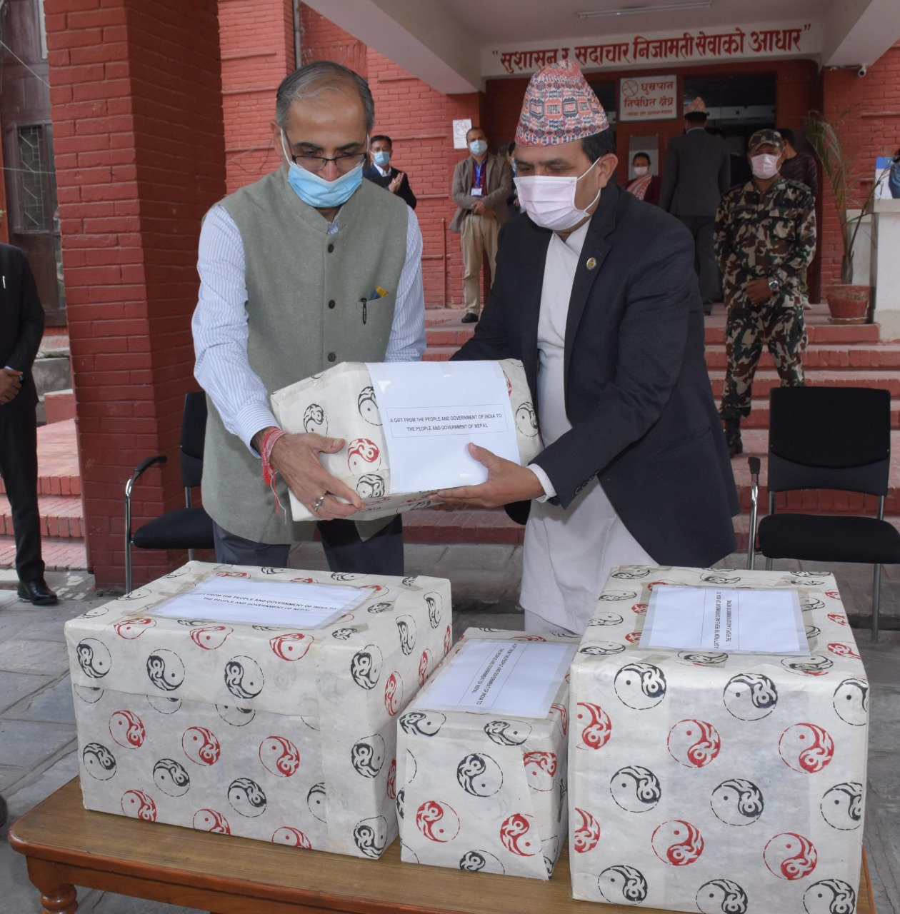 Ambassador of India to Nepal Vinay Mohan Kwatra, on behalf of the Indian government, handing over essential medicines to the Minister for Health and Population Bhanubhakta Dhakal, at the Ministry, in Kathmandu, on Wednesday, April 22, 2020. Photo: Twitter/Embassy of India in Nepal
