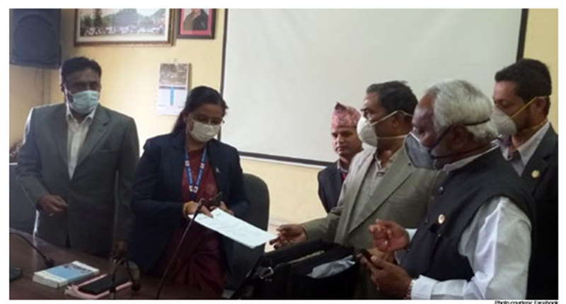 Leaders of the newly formed Janata Samajwadi Party-Nepal submitting an application to register the party at the Election Commissionu2019s office, in Kathmandu, on Thursday. Photo courtesy: Facebook