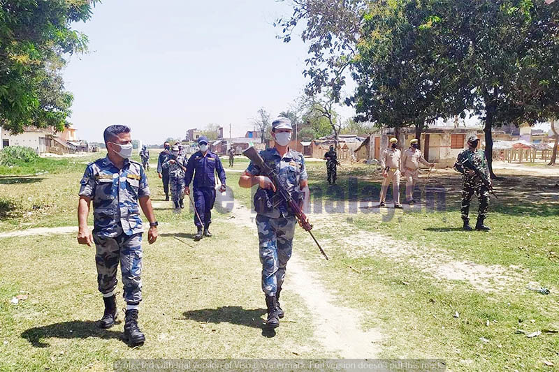 A joint security team from Nepal and India patrolling border area in Kapilvastu district, on Monday, April 13, 2020. Photo: Krishna Prasad Dhakal/THT