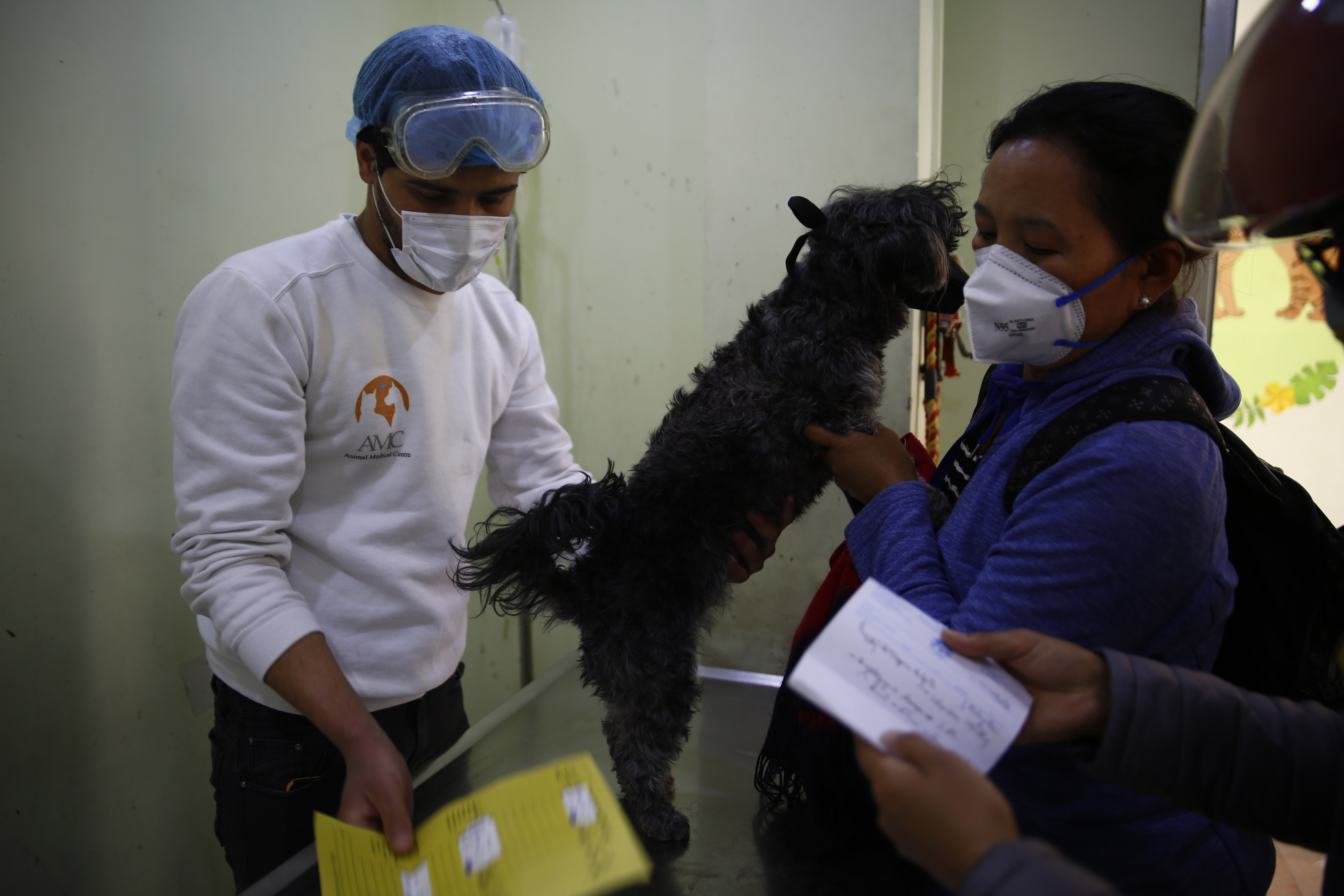 Dr Sushil Kumar Poudel examines a dog at Animal Medical Centre on the twelfth day of government imposed lockdown, amid concerns over the spread of COVID-19, at Bouddha, Kathmandu, on Saturday, April 04, 2020. Photo: Skanda Gautam/THT