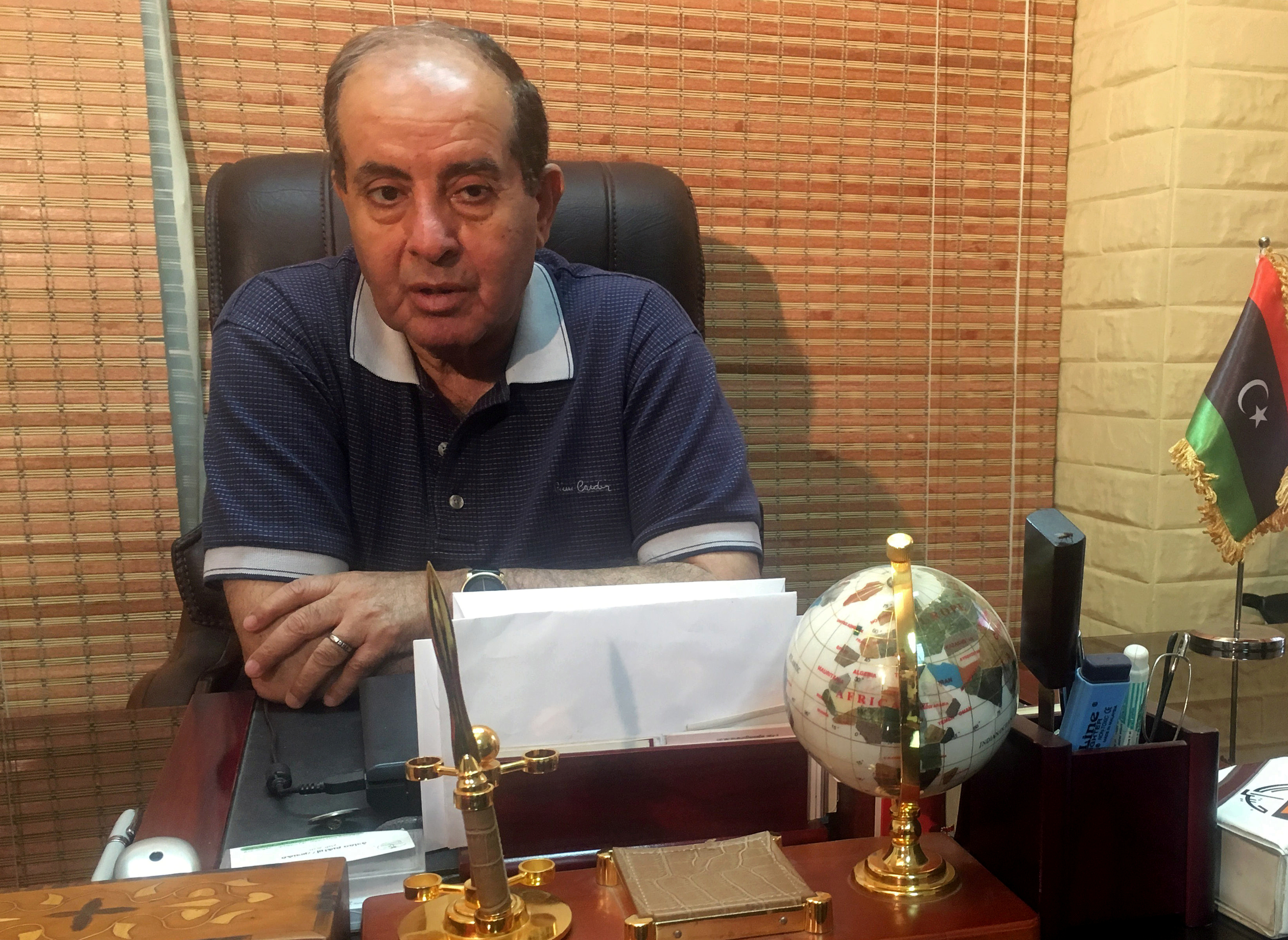 FILE - Libyan former interim Prime Minister Mahmoud Jibril talks during an interview with Reuters in Cairo, Egypt, on May 22, 2018. Photo: Reuters