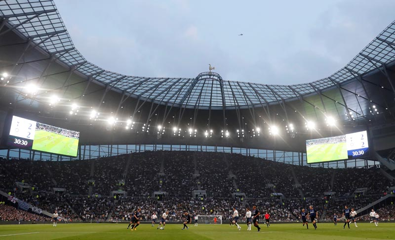 File - Tottenham Hotspur and Inter Milan players from yesteryear took part in a friendly match which served as a final test event at Spurs' new 1 billion-pound ($1.25 billion) stadium in London, UK, on March 30, 2019. Photo: Reuters