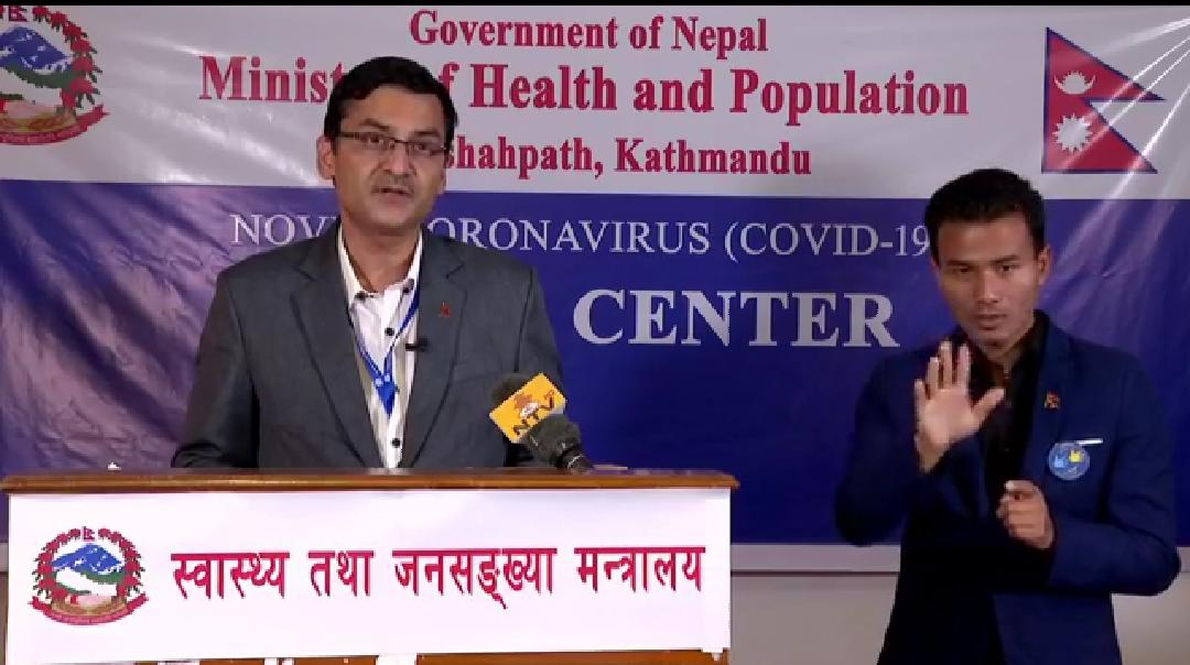 A screenshot from the media briefing by Spokesperson of the Ministry of Health, Dr Bikash Devkota, on Monday, April 13, 2020.
