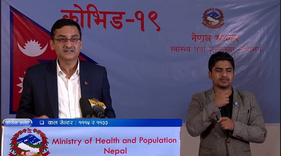 A screenshot of media briefing on COVID-19 by the Ministry of Health and Population (MoHP), on Monday, April 27, 2020.