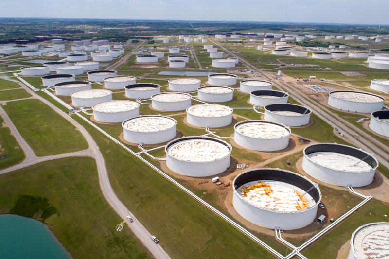 Crude oil storage tanks are seen in an aerial photograph at the Cushing oil hub in Cushing, Oklahoma, US April 21, 2020. Photo: Reuters