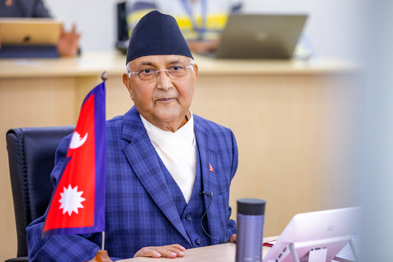 Prime Minister KP Sharma Oli during a video conference meeting with chief ministers of all seven provinces, in Singha Durbar, Kathmandu, on Saturday, April 11, 2020. Photo Courtesy: Rajan Kafle/Secretariat of Prime Minister of Nepal