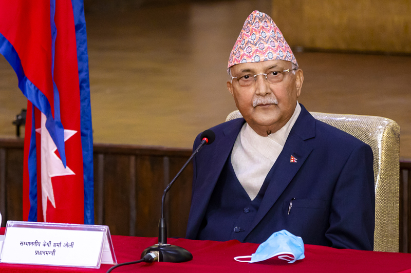 Prime Minister KP Sharma Oli at his residence in Baluwatar during the cabinet meeting held on Friday, April 24, 2020. Photo Courtesy: Rajan Kafle/Secretariat of Prime Minister of Nepal