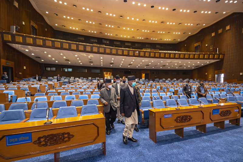 PM KP Sharma Oli visits the building of federal parliament with the nearing of budget session. Photo: Rajan Kafle/Secretariat of Prime Minister of Nepal