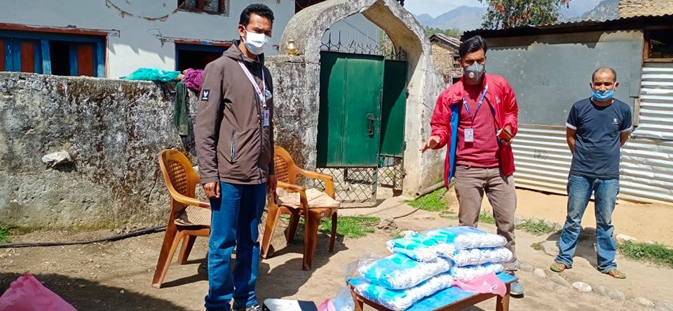 Surgical masks donated by a Bajura local, currently working as a nurse in United States. Photo: Prakash Singh/THT