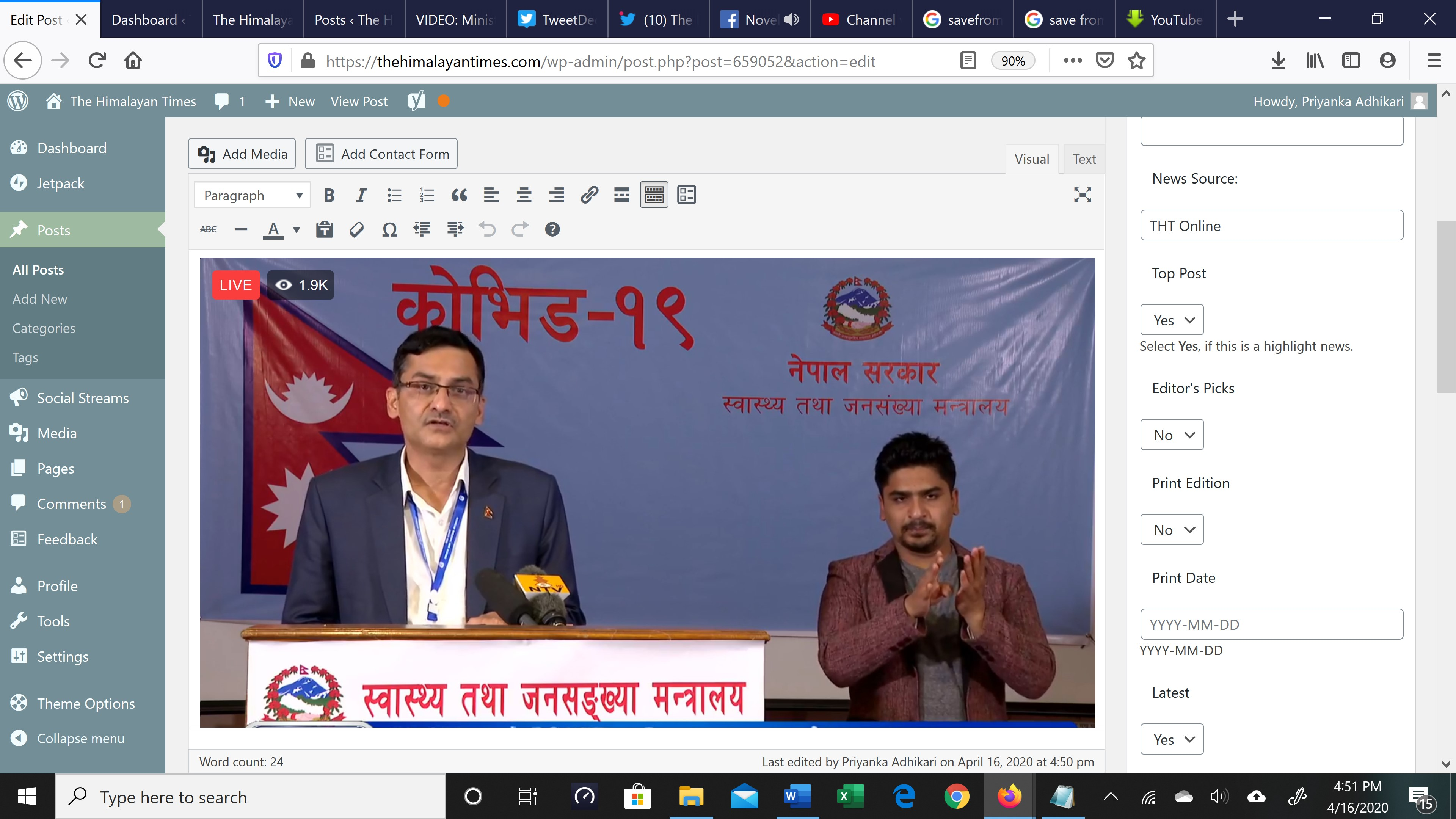 A screenshot of media briefing conducted by Ministry of Health Spokesperson Dr Bikash Devkota, on Thursday, April 16, 2020.